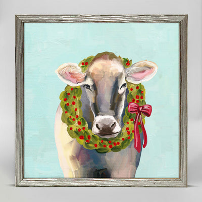 Festive Cow Embellished Canvas