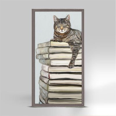 Cat on Books 2 - Mini Framed Canvas