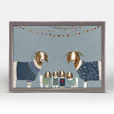 Goats in Sweaters - Blue Mini Framed Canvas