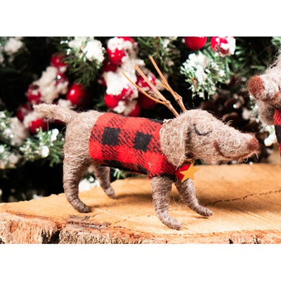 Felted Dog with Antler & plaid Jacket
