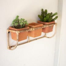Bamboo Wall Planter with Terracotta Pots