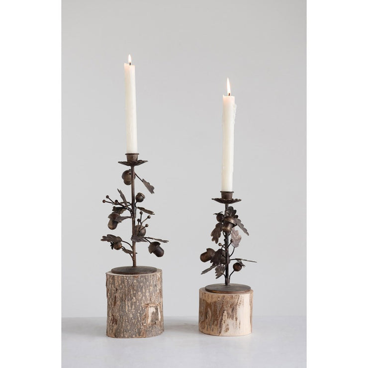 Metal Leaf & Acorn Candle Holder