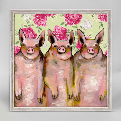 Little Piggies - Floral Mini Framed Canvas Eli Halpin  Giclee On Canvas 5x7