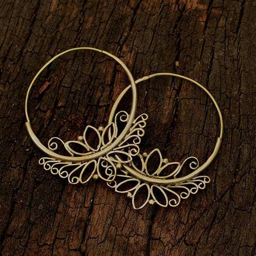 Lotus Decorated Hoop Earrinngs