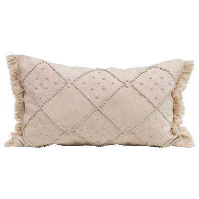 Lumbar Pillow w/ French Knots & Fringe