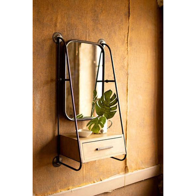 Metal Wall Mirror with Wood Drawer