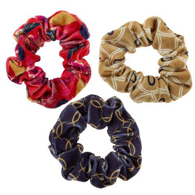 Red Floral Velvet Scrunchies