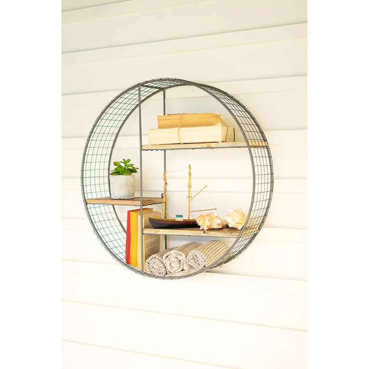 Round Wire & Wood Shelving Unit