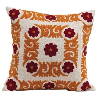Floral Embroidered Pillow (Sienna & Curry)