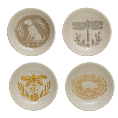 Stoneware Plates with Animals & Insects