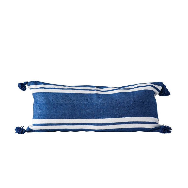 Blue Striped Cotton pillow with Tassels