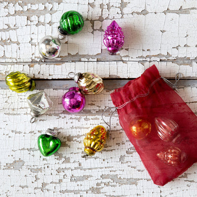 Vintage Mini Glass Ornament Bag