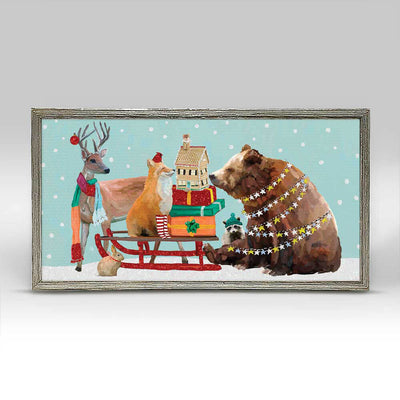 Winter Sleigh Embellished Canvas