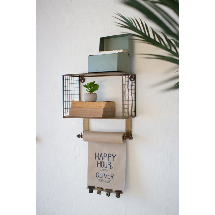 wire mesh metal shelf with note roll
