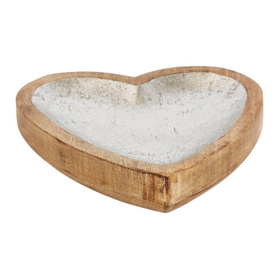 Silver Wooden Heart Tray