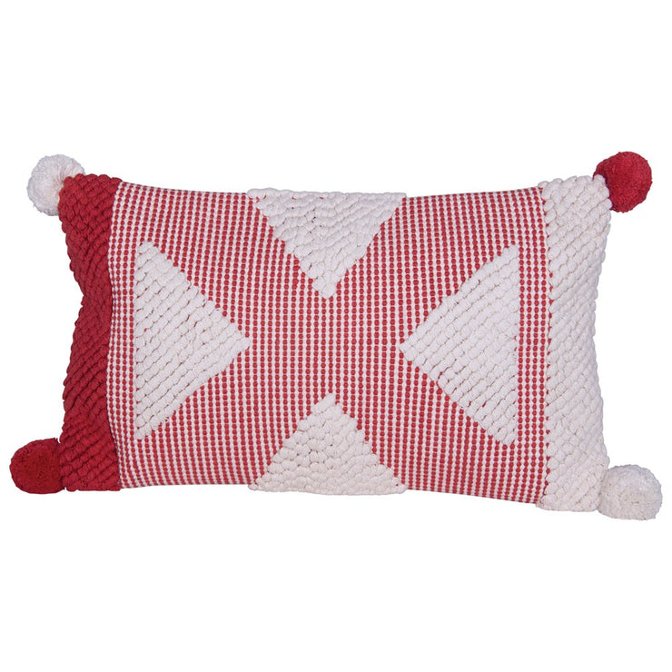 Red & White Pom Pom Pillow