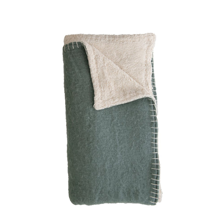 Sherpa Throw with Blanket Stitch
