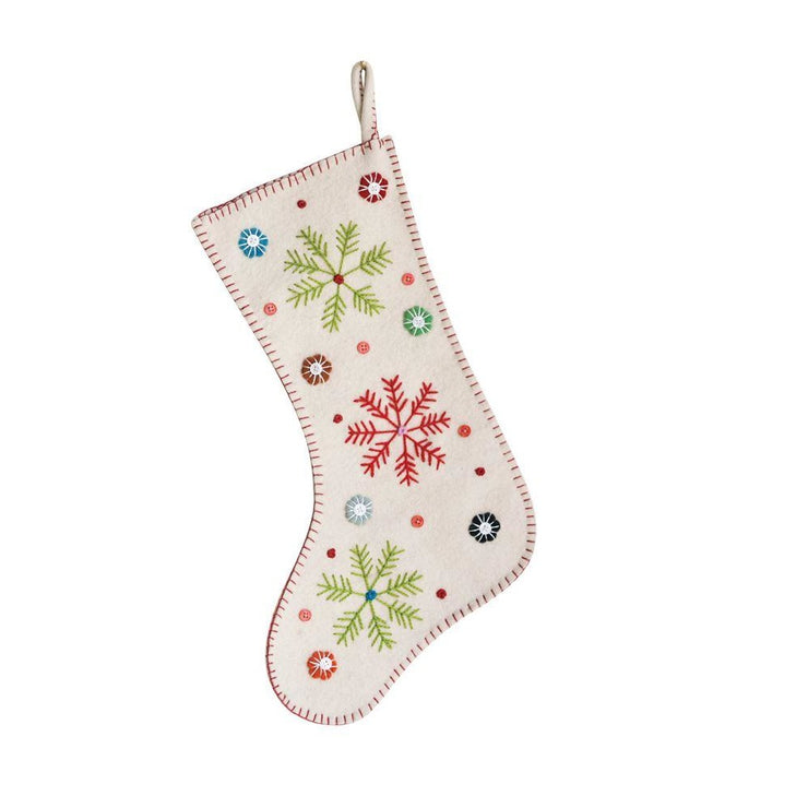 Wool Embroidered Snowflake Stocking