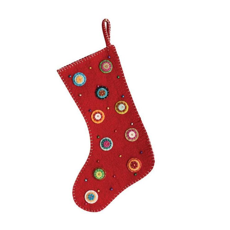 Wool Embroidered Red Stocking