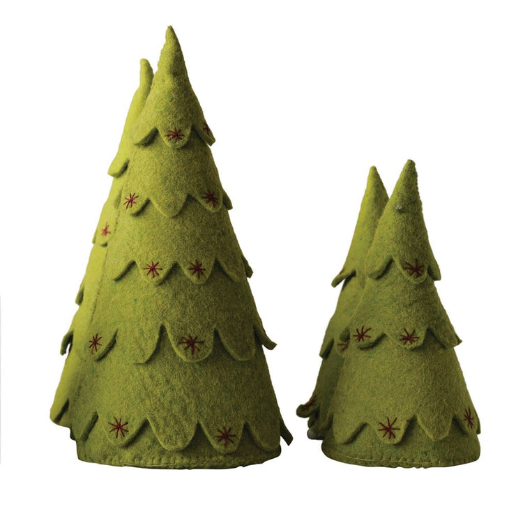 Felt Christmas Trees with Embroidered Stars-Set of 2