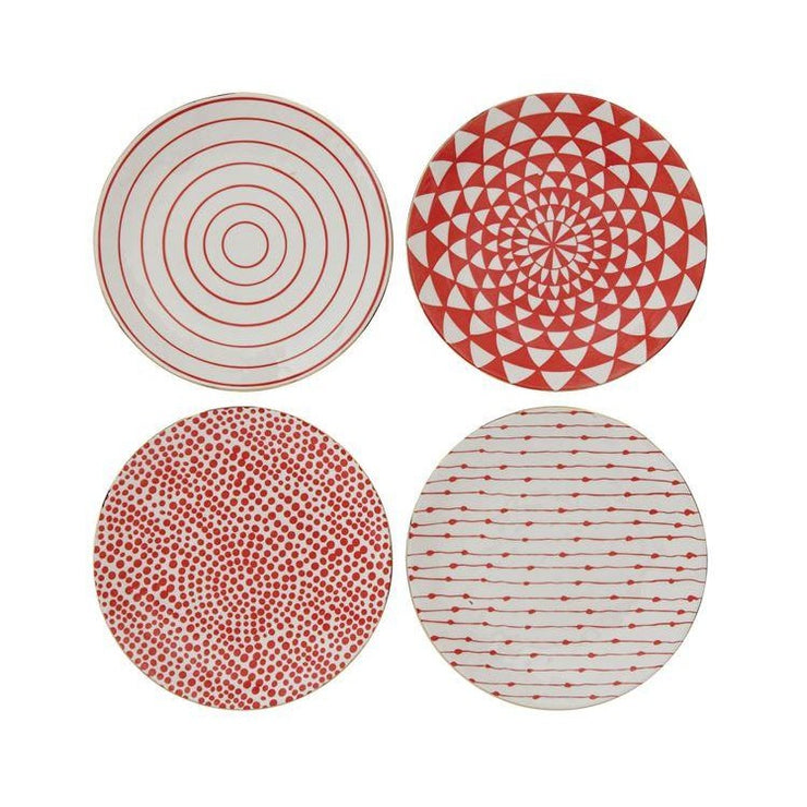 Red and White Stoneware Plates