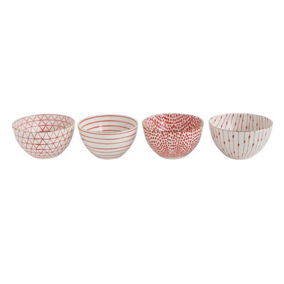 Red and White Stoneware Bowls with Gold Trim