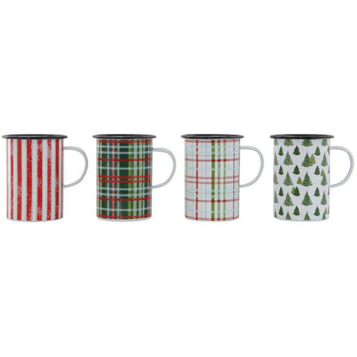 Enameled Tin Holiday Mugs