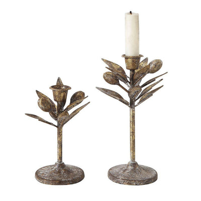Olive Leaf Metal Taper Holder