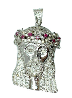 14 KT - White Gold Mens Diamond Jesus Head Pendant with Ruby - 3.8 CT