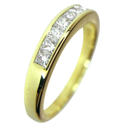 14 KT YELLOW GOLD PRINCESS DIAMOND WEDDING BAND - 0.45 CT