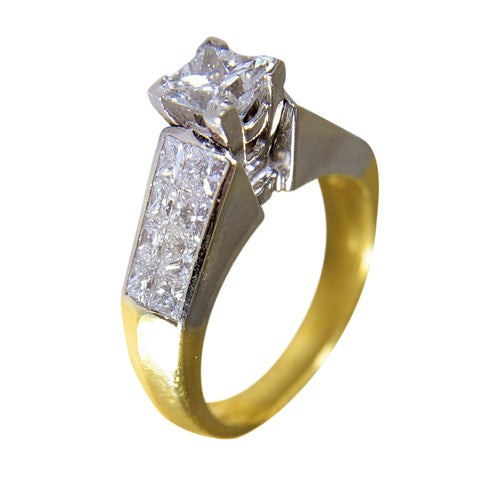 18 KT YELLOW GOLD - PRINCESS ENGAGEMENT RING - 1.5 CT