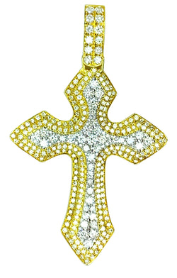 14 KT - TT Gold Diamond Cross Pendant - 4.12 CT