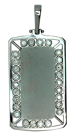 14 KT - White Gold Mens Diamond Dog Tag Pendant with Motion Bezel Diamonds - 2.78 Ctw