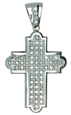 14KT - White Gold Mens Diamond Cross Pendant - 4.50 Ctw