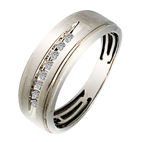 10 KT WHITE GOLD ROUND DIAMOND WEDDING BAND - 0.10 CT