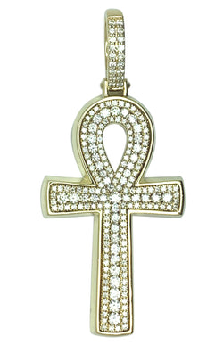 14 KT - Yellow Gold The Ankh Cross Men Diamond Pendant - 4.12 CT
