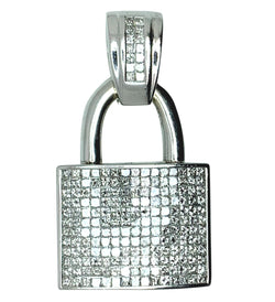 14 KT - White Gold Padlock Diamond Pendant - 8.50 CT