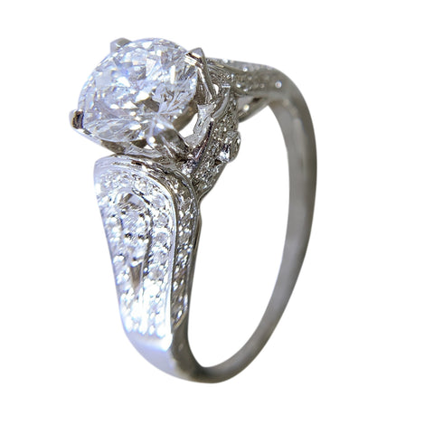 14 KT WHITE GOLD - ROUND DIAMOND RING - 2.9 CT