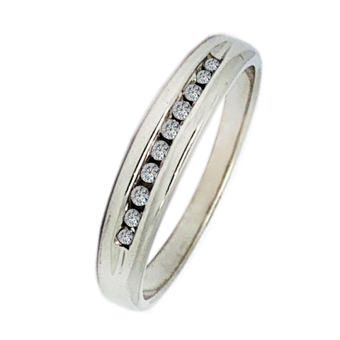 10 KT WHITE GOLD ROUND DIAMONDS WEDDING BAND - 0.20 CT