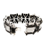 14K White Gold Men`s Bracelet Italian Custom Made 12.64Ct Diamonds 23.48Ct Black