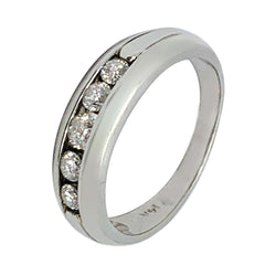 14 KT WHITE GOLD 5 STONES ROUND DIAMOND RING - 0.51 CT