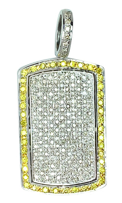 14 KT - White Gold Dog Tag Diamond Pendant - 2.68 CT