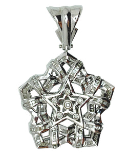 14 KT - White Gold Star Diamond Pendant - 1.68 CT