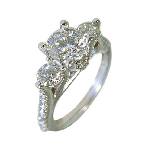 14 KT WHITE GOLD - 3 STONES DIAMOND ENGAGEMENT RING - 2.37CT