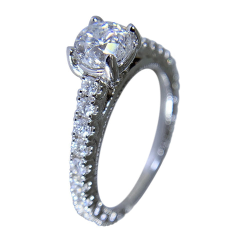14 KT WHITE GOLD WOMENS ENGAGEMENT RING - 1.76 CT