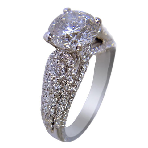 18K WHITE GOLD WOMENS DIAMOND RING - 1.29 CT