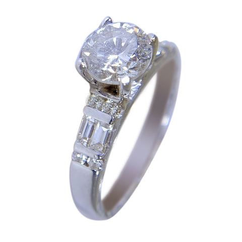 18K WHITE GOLD - WOMENS DIAMOND RING - SET - 1.88 CT
