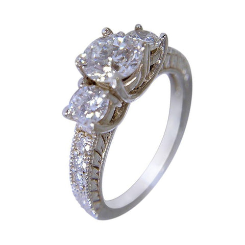 14 KT WHITE GOLD - 3 STONES ROUND DIAMOND ENGAGEMENT RING - 2.25 CT