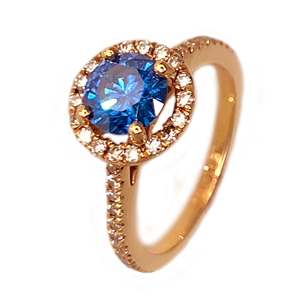 14k Rose Gold Beautiful design with Round Blue Diamond womens Ring - 1.38 ct