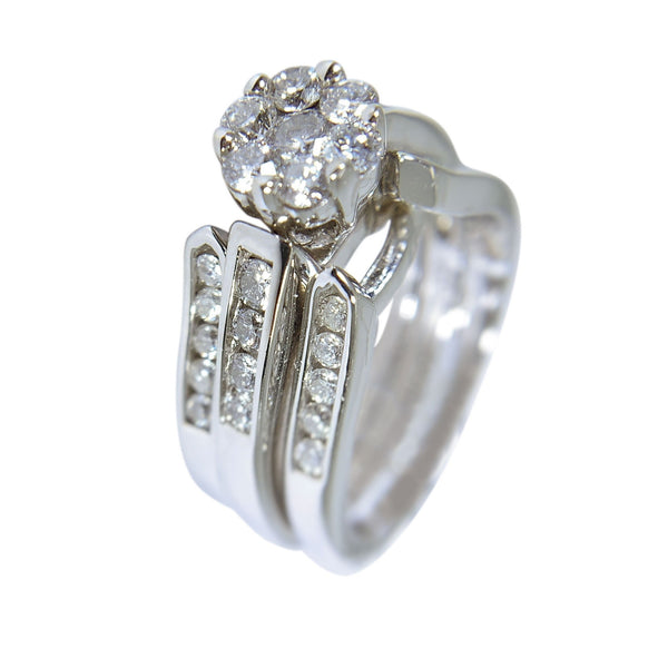 14 KT WHITE GOLD - ROUND DIAMOND INSERT RING - 2.01 CT